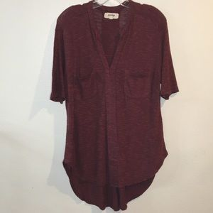 Anthropologie Rust Red Hi Low Tunic Vneck Pockets